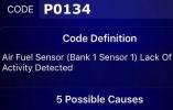 Ошибка Р0134 говорит о полном отсутствии сигнала с датчика кислорода