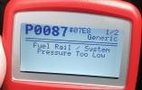 P0087 ошибка низкого давления в топливной магистрали