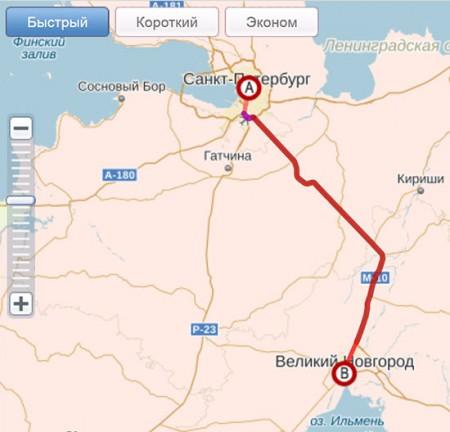 Расчет расстояний и прокладка маршрута