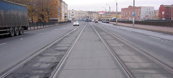 трамвайные пути попутного направления