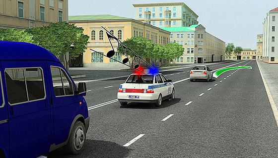 автомобиль сопровождения со световыми и звуковыми сигналами