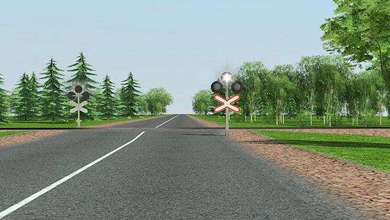 Сплошная линия разметки около железнодорожного переезда