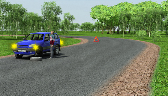 Установка знака аварийной остановки при ограниченной видимости