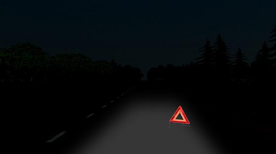 Установка знака аварийной остановки ночью на стоянке