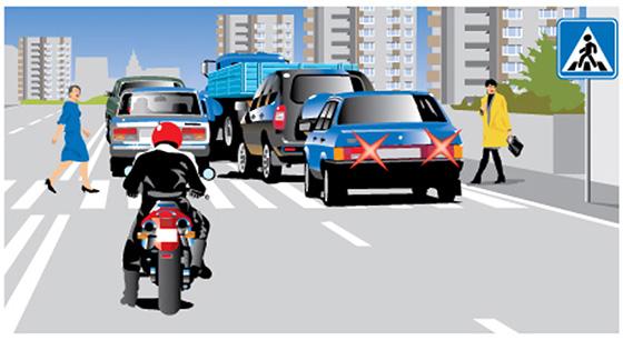 затор за пешеходным переходом