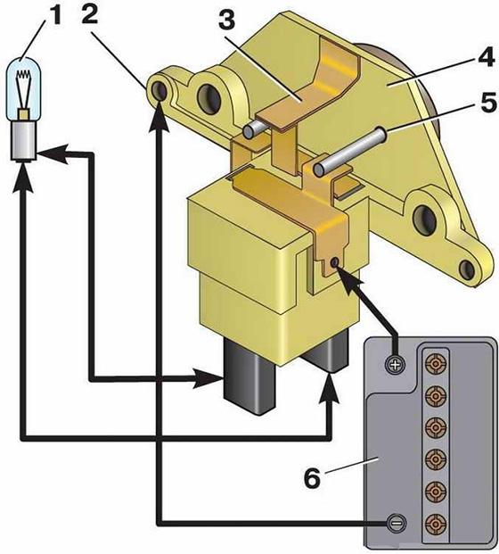 Схема проверки реле-регулятора напряжения с помощью лампочки