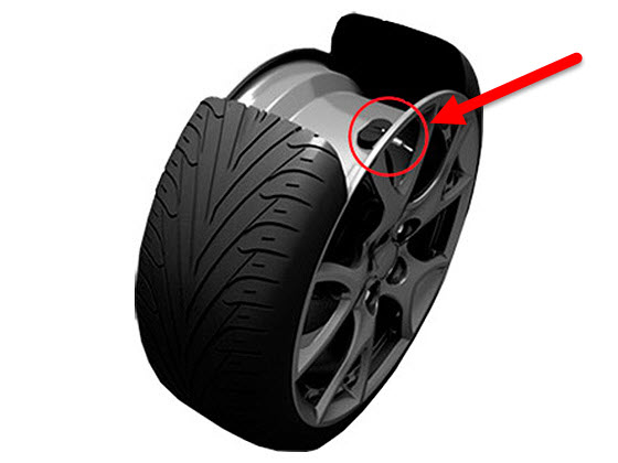 где стоят датчики давления в шинах