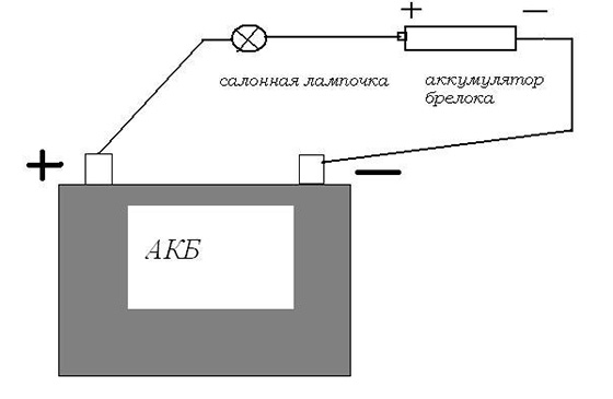схема подзарядки элементов питания брелка сигнализации от автомобильного аккумулятора