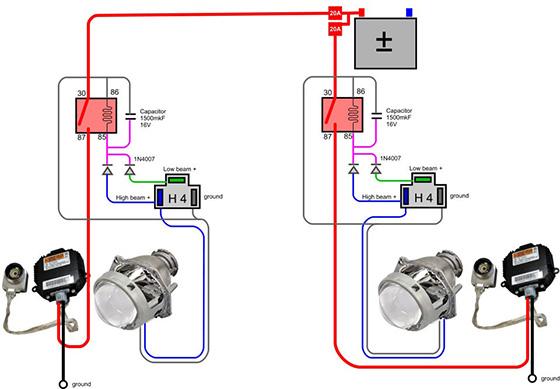 подключение биксенона H4 схема