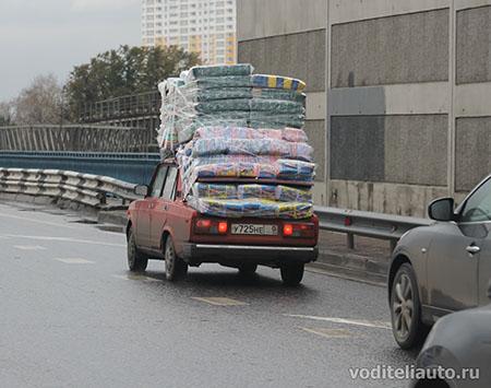 перевозка груза на багажнике автомобиля