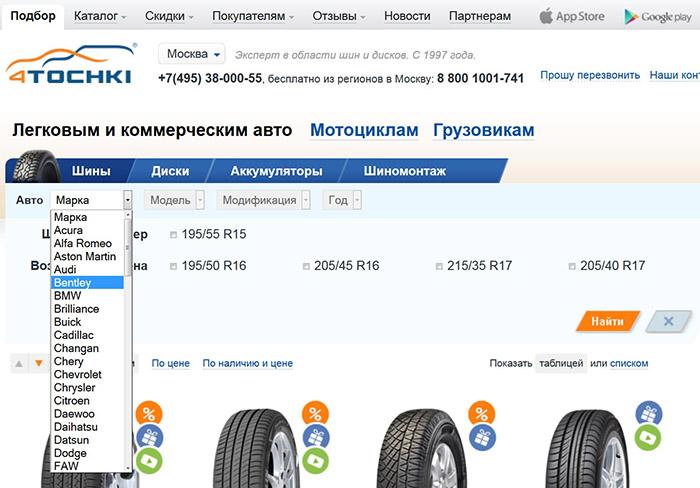 Сайт интернет-магазина 4TOCHKI