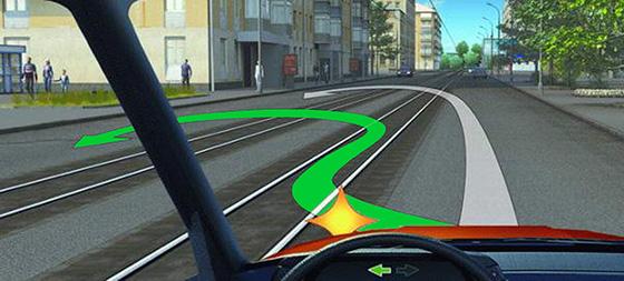 перестроение на трамвайные пути попутного направления