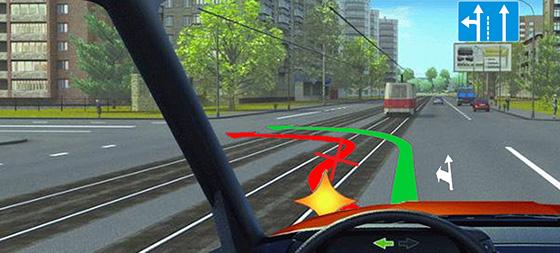 поворот налево без выезда на трамвайные пути