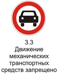 """Дорожный знак 3.3 """"Движение механических транспортных средств запрещено"""" пояснения"""