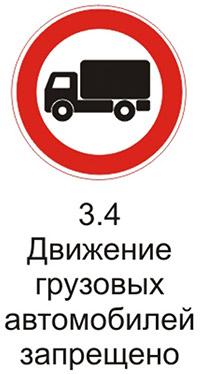 """Дорожный знак 3.4 """"Движение грузовых автомобилей запрещено"""" комментарии"""