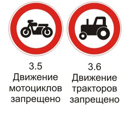 """Дорожные знаки 3.5 """"Движение мотоциклов запрещено"""" и 3.6 """"Движение тракторов запрещено"""" с пояснениями"""
