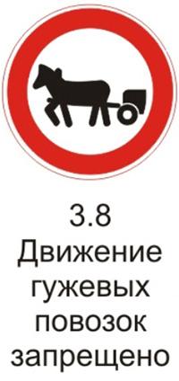 Дорожный знак 3.8 «Движение гужевых повозок запрещено»