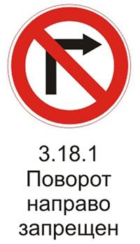 Дорожный знак 3.18.1 «Поворот направо запрещен» пояснения