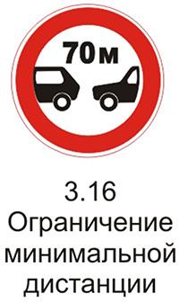 Дорожный знак 3.16 «Ограничение минимальной дистанции» пояснения