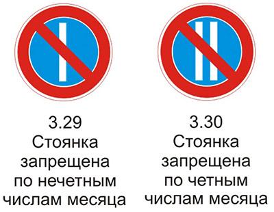 Дорожные  знаки 3.29 «Стоянка запрещена по нечетным числам месяца» и 3.30 «Стоянка запрещена по четным числам месяца» с разъяснениями