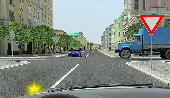 уступить дорогу автомобилям с приоритетом