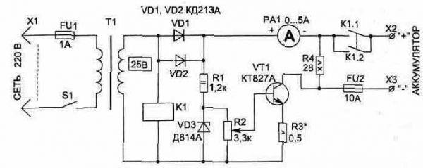 Схема зарядного устройства для АКБ с регулировкой