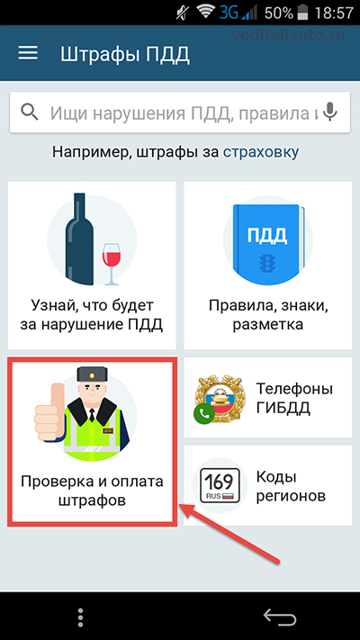 проверка и оплата через мобильное приложение