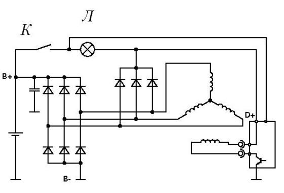 Схема поможет понять в каких случаях не горит лампочка зарядки аккумулятора