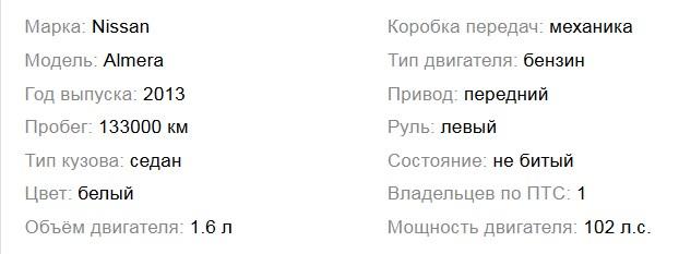 информация о б/у авто в объявлении