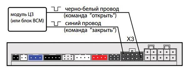 подключение модуля центрального замка