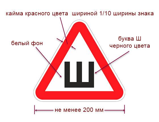 Размер наклейки «Шипы» по ГОСТ