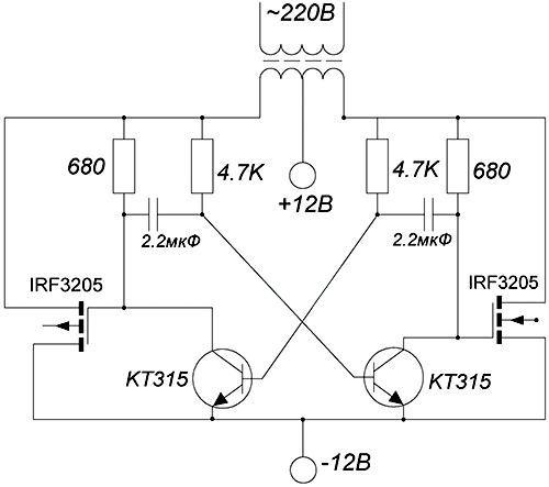 схема простейшего преобразователя напряжения 12 в 220 В