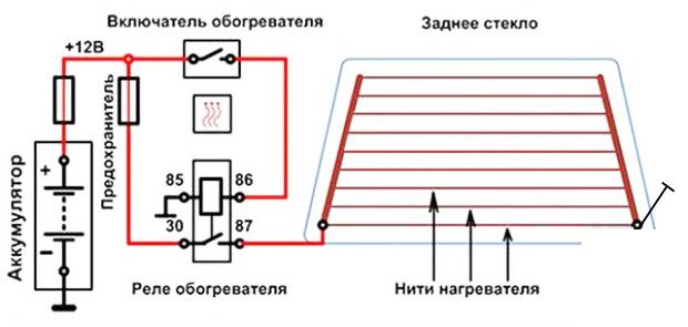 схема подключения обогрева заднего стекла автомобиля